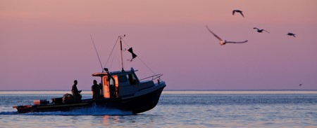 lobster boat: Panoramic shoot of a lobster fishing boat when his going to fetch his trap at early morning in Gaspesie, Quebec, Canada