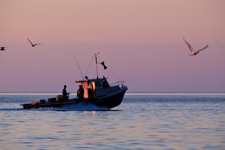 fishing industry: A lobster fishing boat is going to fetch his trap at early morning in Gaspesie, Quebec, Canada Stock Photo