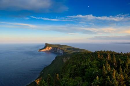bon: High angle shoot of Cap Bon Ami peninsula in Forillon National Park. Stock Photo