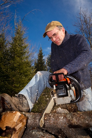chainsaw: A lumberjack is cutting some wood using a chainsaw.