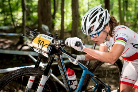BEAUPRE, QUEBEC - AUGUST 10  Cross Country Women Elite, 2nd place, POL - WLOSZCZOWSKA Maja, UCI World Cup on Aug  10, 2013 Editorial