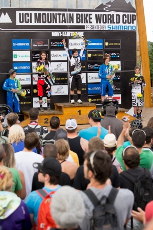 MONT STE-ANNE, QUEBEC, CANADA - AUGUST 11  Downhill Women Elite podium, UCI World Cup on Aug  11, 2013