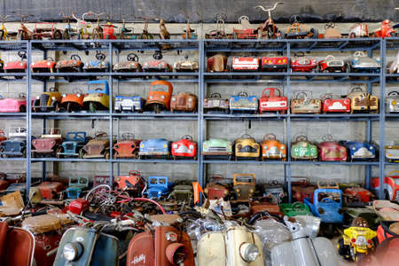 a lot of old toy cars and bikes collection Reklamní fotografie