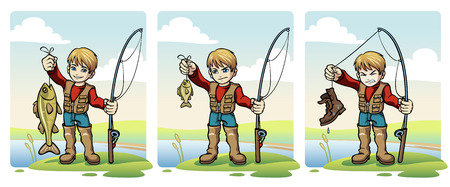 riverbank: A young boy holding a fish and fishing rod, available in three different states. A Smiling boy with a big fish, A Frowning boy with a small fish and An Angry boy with a shoe.