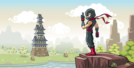 himself: A ninja warrior standing on the hill. He is preparing himself for a mission to sneak into landlords castle.