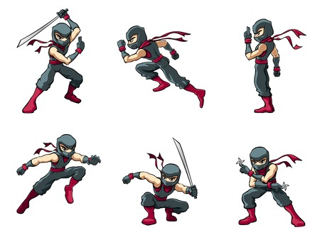 An isolated ninja warrior in various poses.