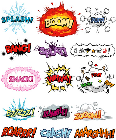 A collection of Comic Elements, including onomatopoeia and sound effects. All text are originally created.