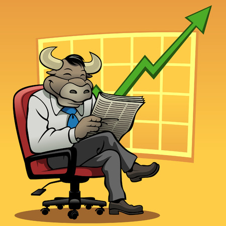 bull market: Vector illustration of a smiling bull in a businessman suit. There is a graph in the background with an upwards trend to represent a bull market. Illustration