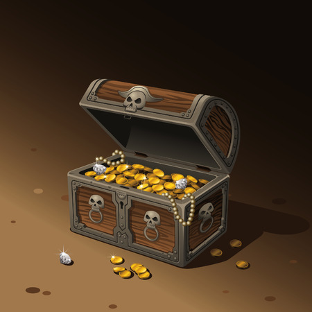 Vector illustration of an opened treasure chest. Its full of gold coins, some diamonds and necklaces. bars, a gemstone necklace, and three red precious stones.