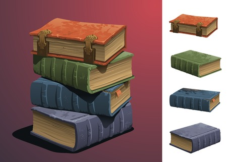 arrange: A stack of old books. All books are grouped separately to easily remove or arrange.