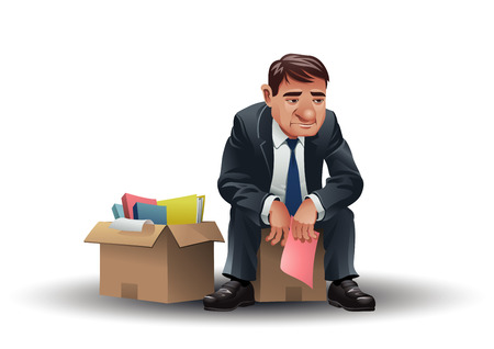 downsizing: A sad businessman holding a pink slip. Illustration