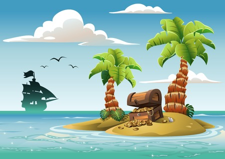 ship sky: Treasure chest on the unhabited tropical island in the ocean.