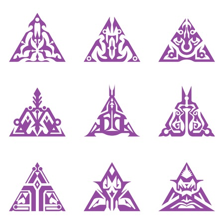 sigil: Collection of abstract triangular sigils.
