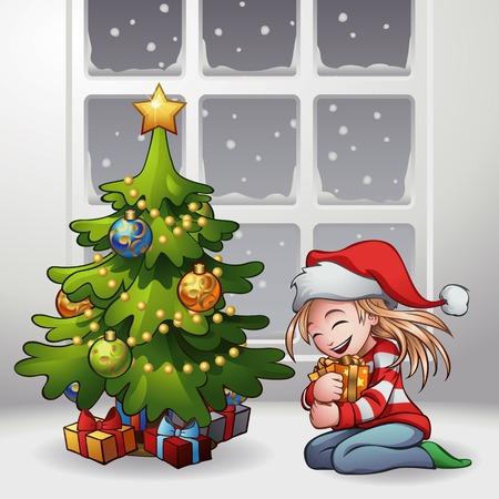 little girl sitting: A little girl sitting on the floor hugging her lovely gift.