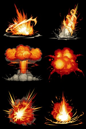 Explosions in 6 different shapes Illustration