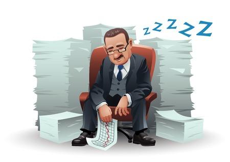 hombres maduros: Hombre de negocios cansado de edad durmiendo en su silla, rodeado de pilas de papel. Vectores