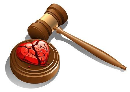 smashed: A smashed heart near the judge gavel, to symbolize a divorce. Illustration