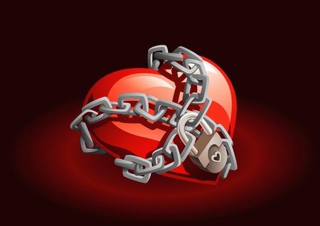 geketend: Rood hart geketend met kettingen en hangslot.