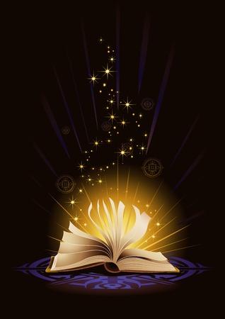A magical book emitting golden lights and sigils.