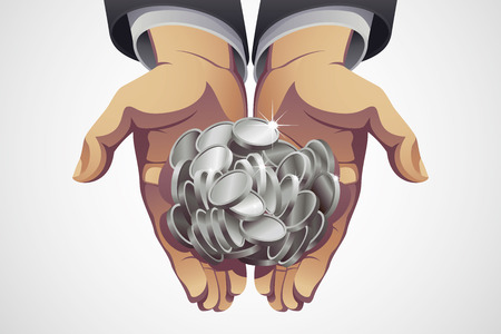 silver coins: A handful of silver coins in businessmans hands.
