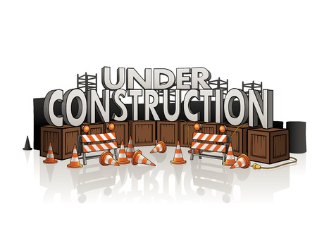 vector sign under construction: Under construction concept with roadblocks, wire, several wooden boxes and equipment.