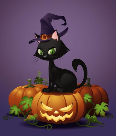 brujas caricatura: A cute black witchs cat on a Halloween pumpkin.
