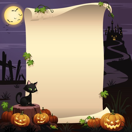 black jack: Halloween background at night, with some Jack olanterns placed near a tree stump and a black cat in the foreground. In the background, a bunch of bats are flying in the background. Illustration