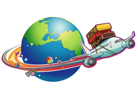 with bag: A cartoon plane is flying with luggage sets tied on its top.