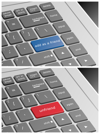 add as friend: Laptop Keyboard with Add as a Friend and Unfriend Buttons