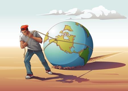 Man Dragging Globe.