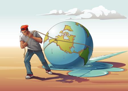 Man Dragging Melting Earth Illustration