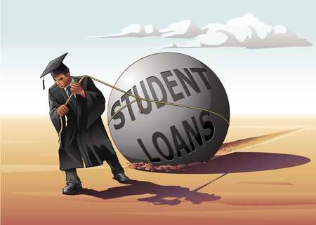 Man dragging student loans illustration.