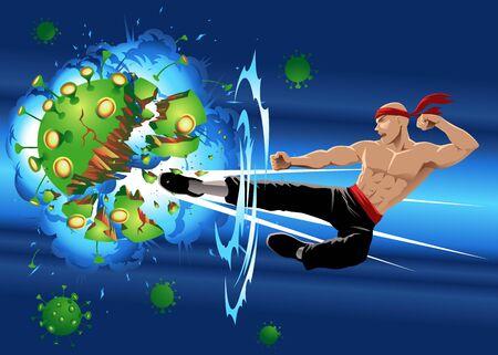 Martial arts master destroying enlarged covid-19 virus with his kick. Vektorové ilustrace