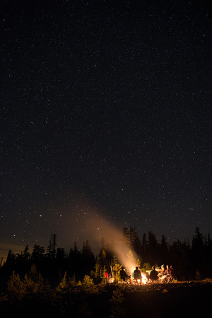 bonfire night: A group of friends conversing at a campfire in the mountains under the star filled sky.