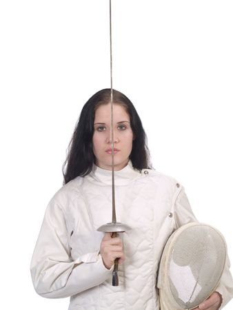 Young Woman in Fencing Jacket with Foil and Mask Saluting Imagens