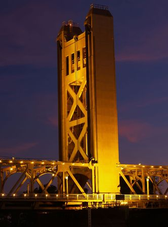 Bridge Tower at night in Sacramento CA