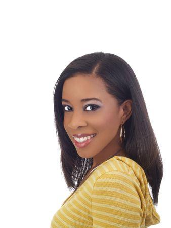 Young black woman sideways glance portrait