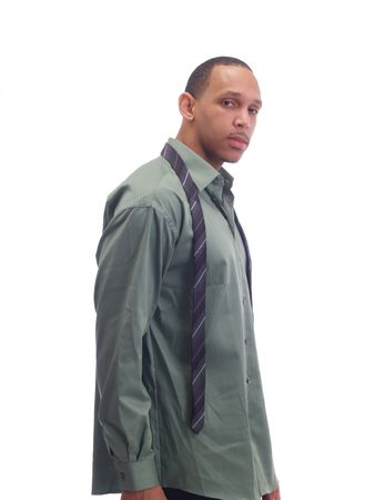 undone: Young african american man in green shirt tie undone