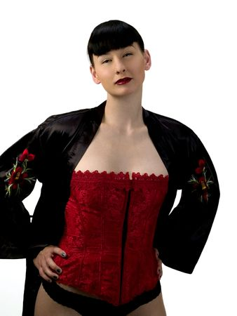 red corset: Woman in red corset and black robe