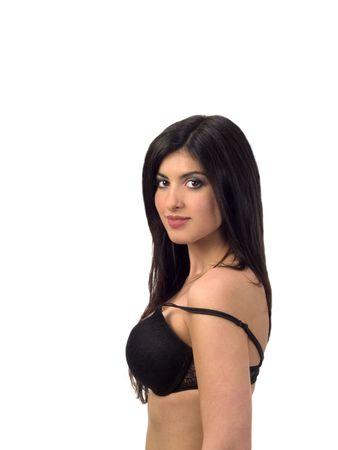 girl bra: Young Woman Portrait in Black Bra Middle Eastern