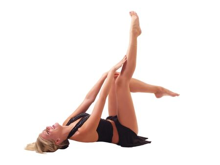 reclining young blond woman with bare legs up