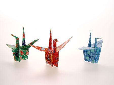 3 Oragami Cranes red blue green  写真素材