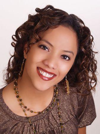 Big smile portrait of attractive hispanic woman         写真素材