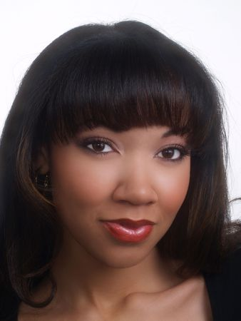 pretty young black woman portrait with long hair