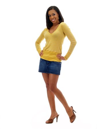 Young black woman showing legs in short skirt and sweater top