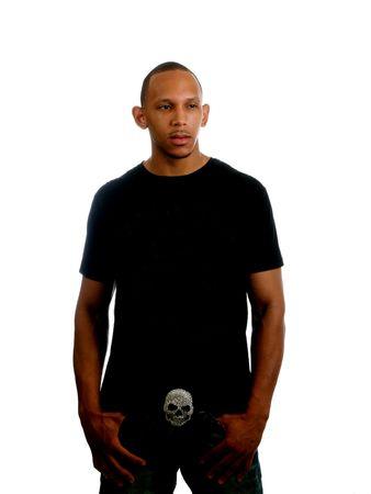 Giovane nero uomo nella fibbia di cintura casual wear       Archivio Fotografico - 3453893
