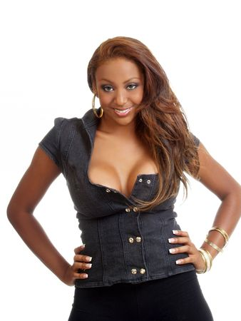 Young black woman with arms on hips cleavage