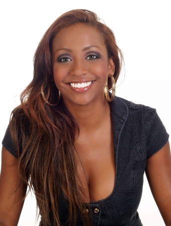 big smile: Young black woman showing cleavage with big smile      Stock Photo
