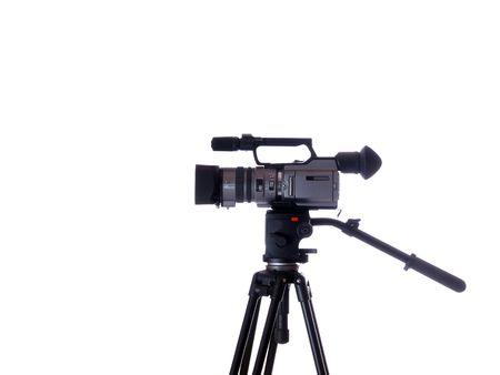 video camera on tripod from the side        Archivio Fotografico