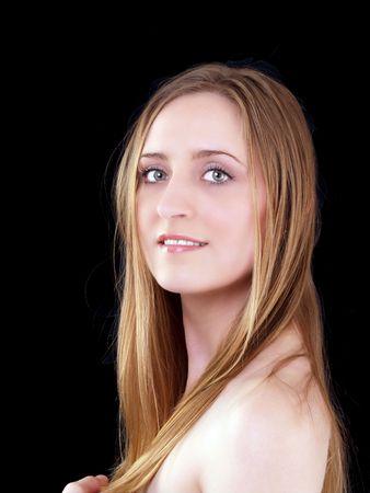 bare shoulders: Young woman portrait with bare shoulders caucasian       Stock Photo